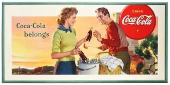 Large Coca-Cola Cardboard Advertising Sign.