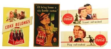 Lot of 4: Coca-Cola Cardboard Advertising Signs.