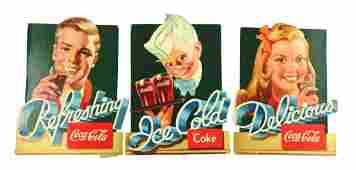 Lot of 3 CocaCola Diecut Advertising Signs