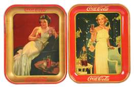 Lot of 2 1935  1936 CocaCola Serving Trays
