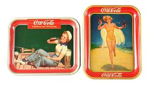 Lot of 2 1937  1940 CocaCola Serving Trays