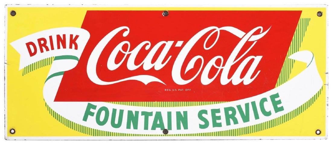 Coca-Cola Fountain Service Porcelain Advertising Sign.