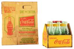 Lot of 2: Coca-Cola Wooden & Cardboard Carriers.