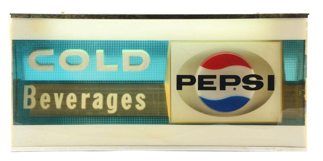 Pepsi-Cola Metal & Plastic Light Up Display Sign.