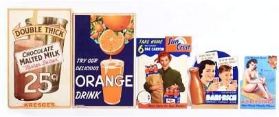 Lot of 5 Beverage Advertising Signs