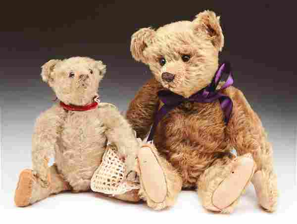 "Lot of 2: Early Steiff ""Blank Button"" Teddy Bears."