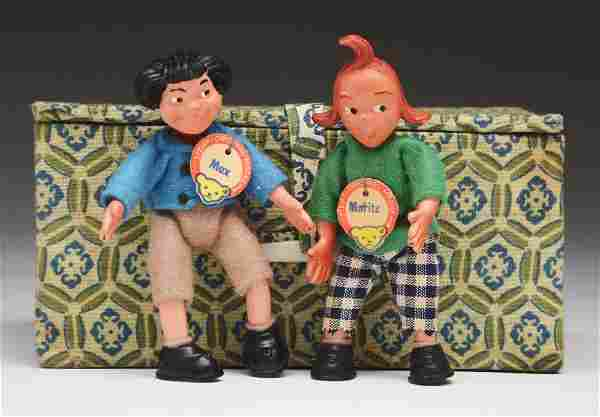 Lot of 2: Small Max & Moritz Dolls.