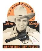 Kenton Gene Autry Cap Pistol On Display Card.