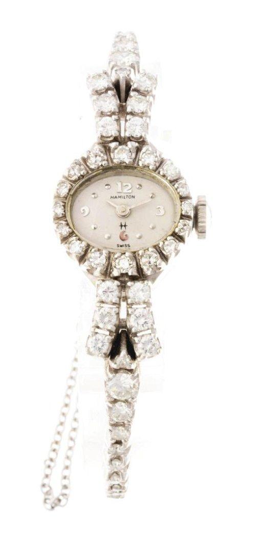 Vintage Hamilton Ladies 14k White Gold Diamond Set