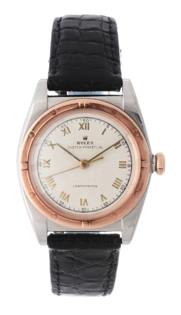 Vintage Rolex 14k Rose Gold and Stainless Steel Bubble