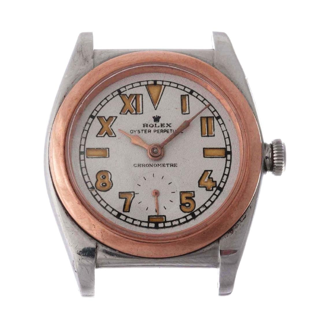 Vintage Rolex Stainless Steel and 14k Rose Gold Bubble