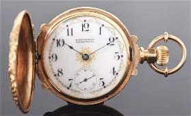 Waltham for H. Hauschildt 14K Gold H/C Pocket Watch 17j