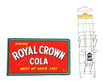Lot Of 2: Royal Crown Cola Flange Sign And Shell Map