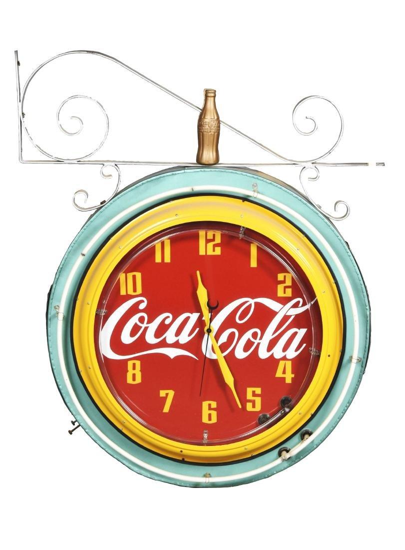 Coca-Cola Neon Clock With Hanging Bracket.