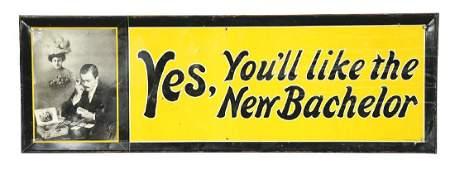 "Tin ""New Bachelor"" Cigar Advertisement Mounted On Wood."