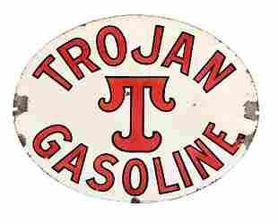 Very Rare Trojan Gasoline Porcelain Curb Sign.