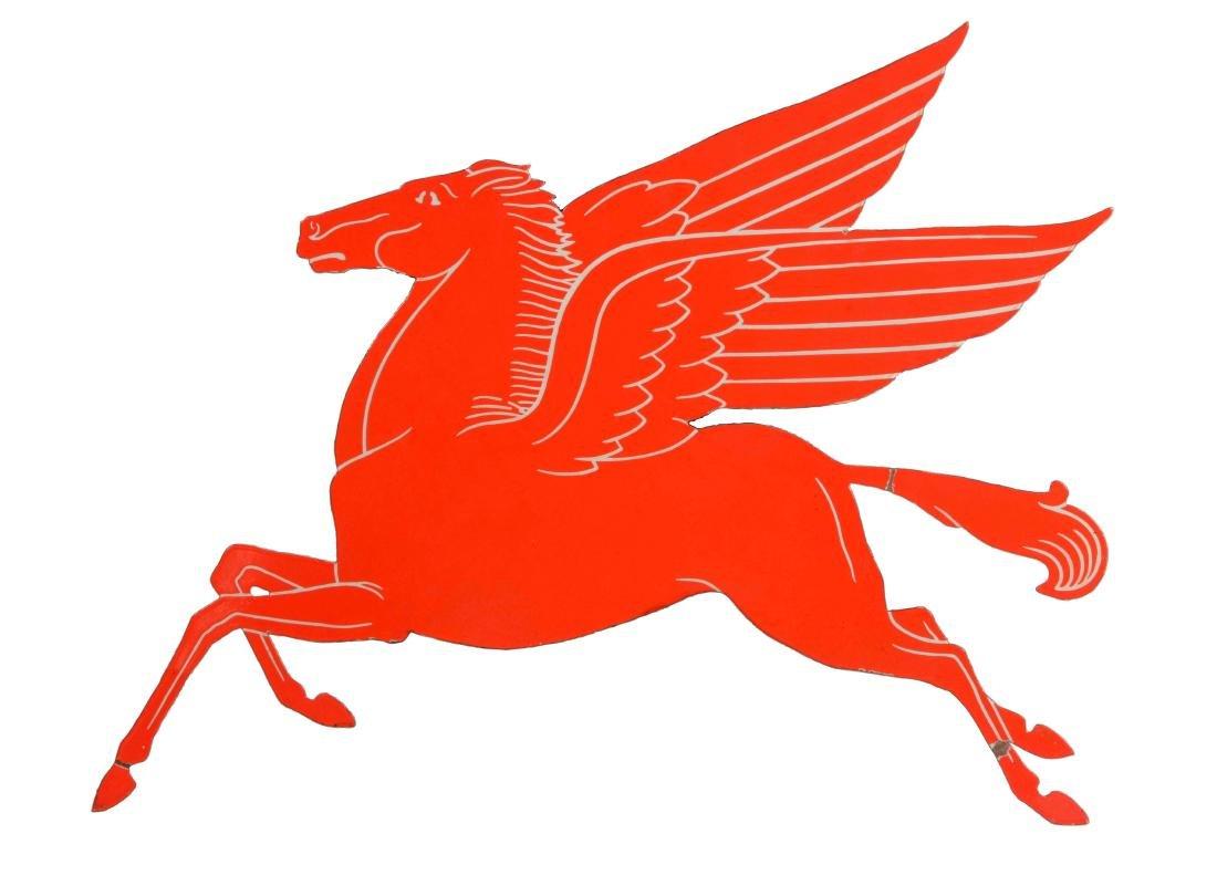 Rare Mobil Pegasus Diecut Porcelain Sign.