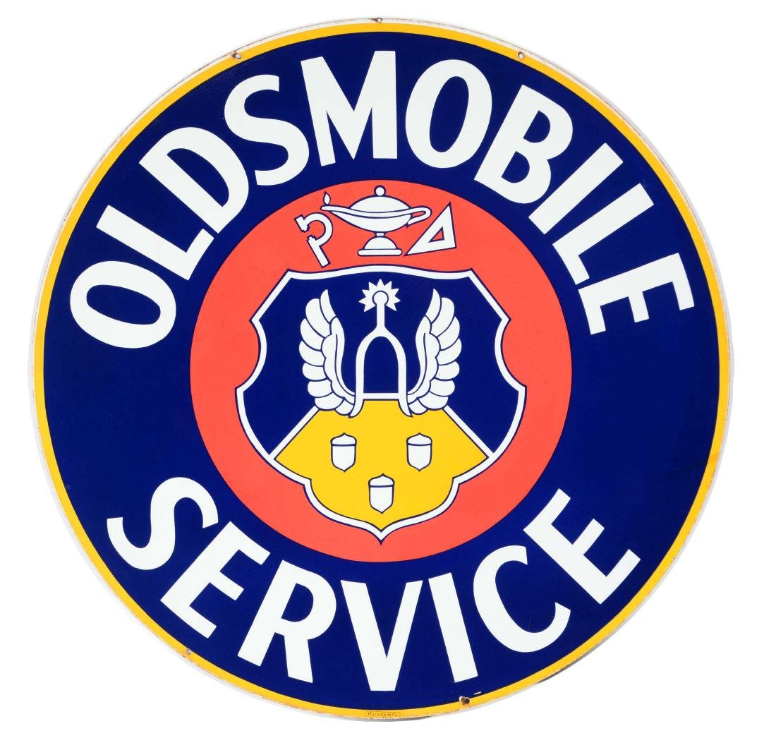 Oldsmobile Service Porcelain Sign with Crest Graphic.