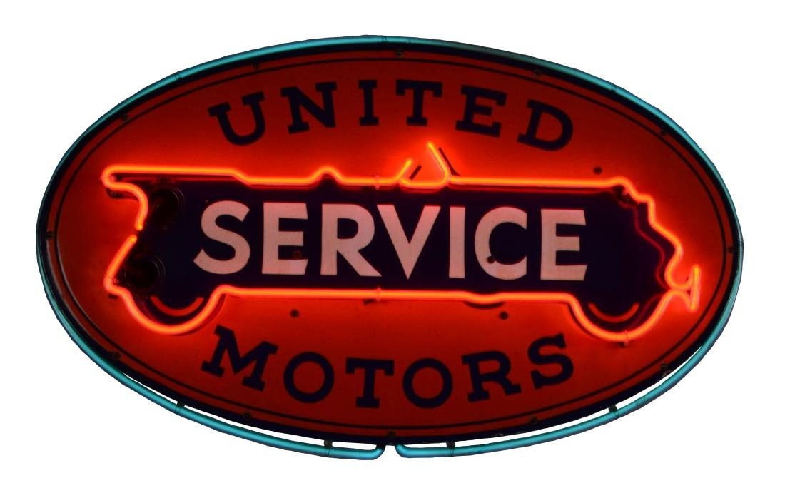United Motors Service Porcelain Neon Sign.