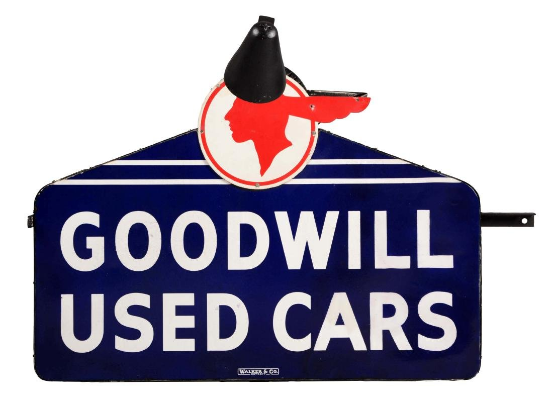 Goodwill Used Cars Die Cut Porcelain Sign On Metal Can
