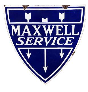 Maxwell Motorcars Service Porcelain Shield Sign