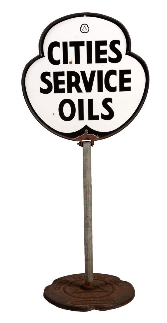 Cities Service Oils Porcelain Lollipop Sign.