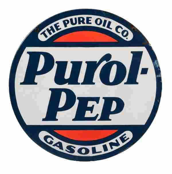 Pure Purol Pep Gasoline Porcelain Sign.
