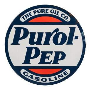 Pure Purol Pep Gasoline Porcelain Sign