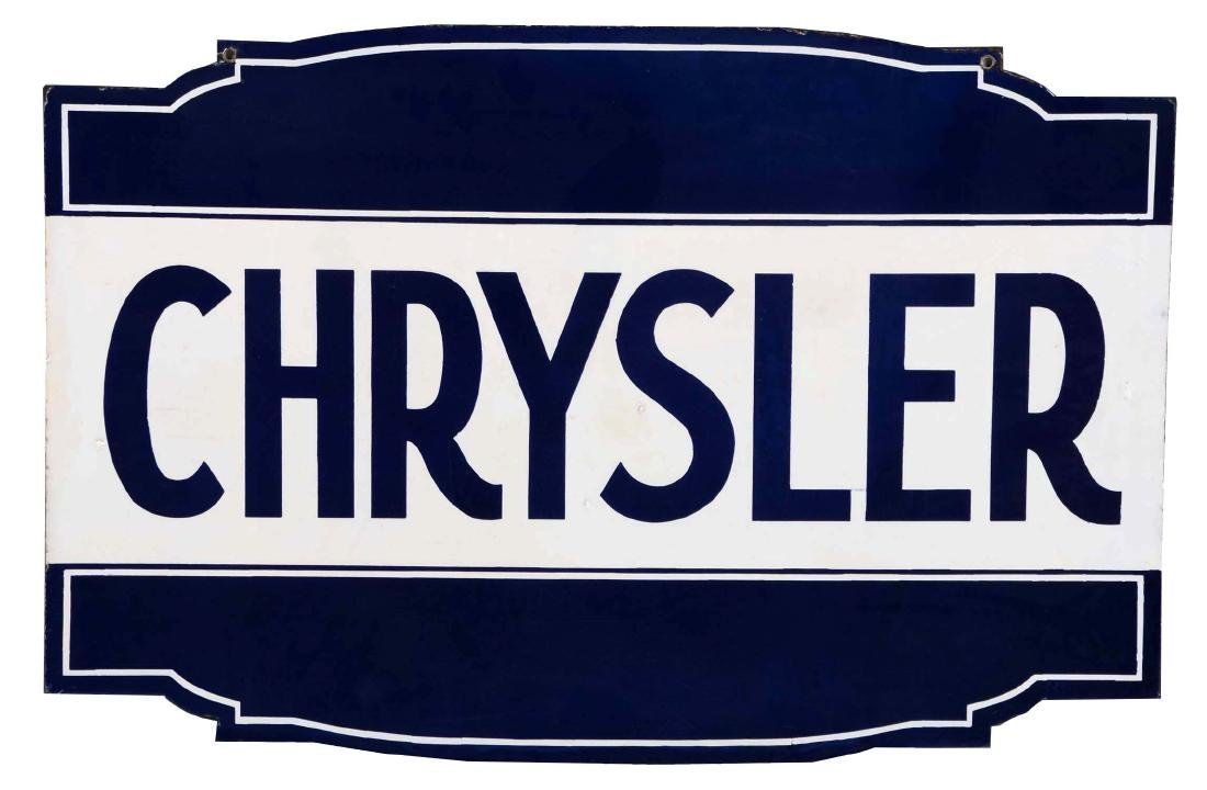 Chrysler Dealership Diecut Porcelain Sign.
