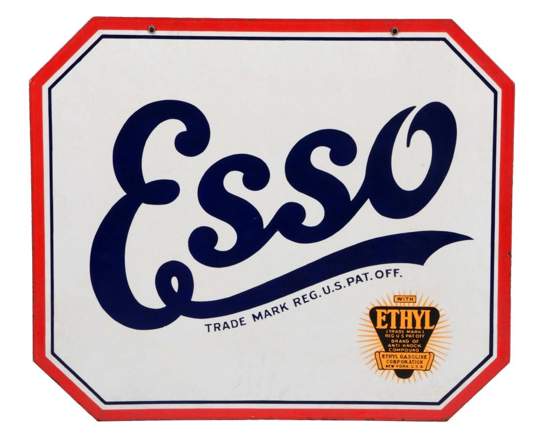 Esso Gasoline Porcelain Sign with Ethyl Burst Graphic.