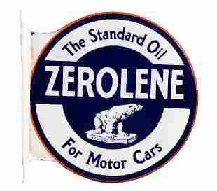 Zerolene For Motor Cars Porcelain Flange Sign with