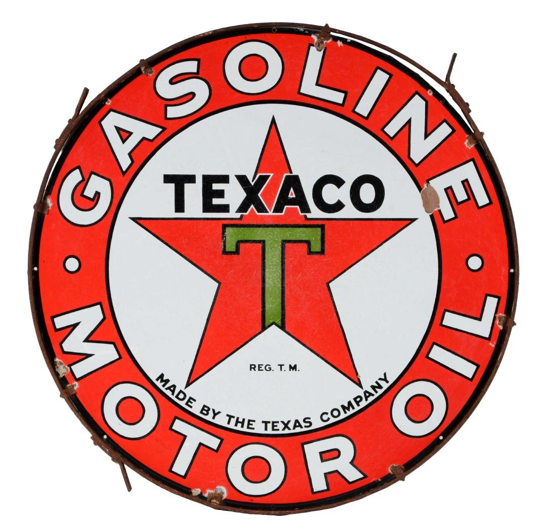 Texaco Gasoline & Motor Oil Porcelain Sign in Original
