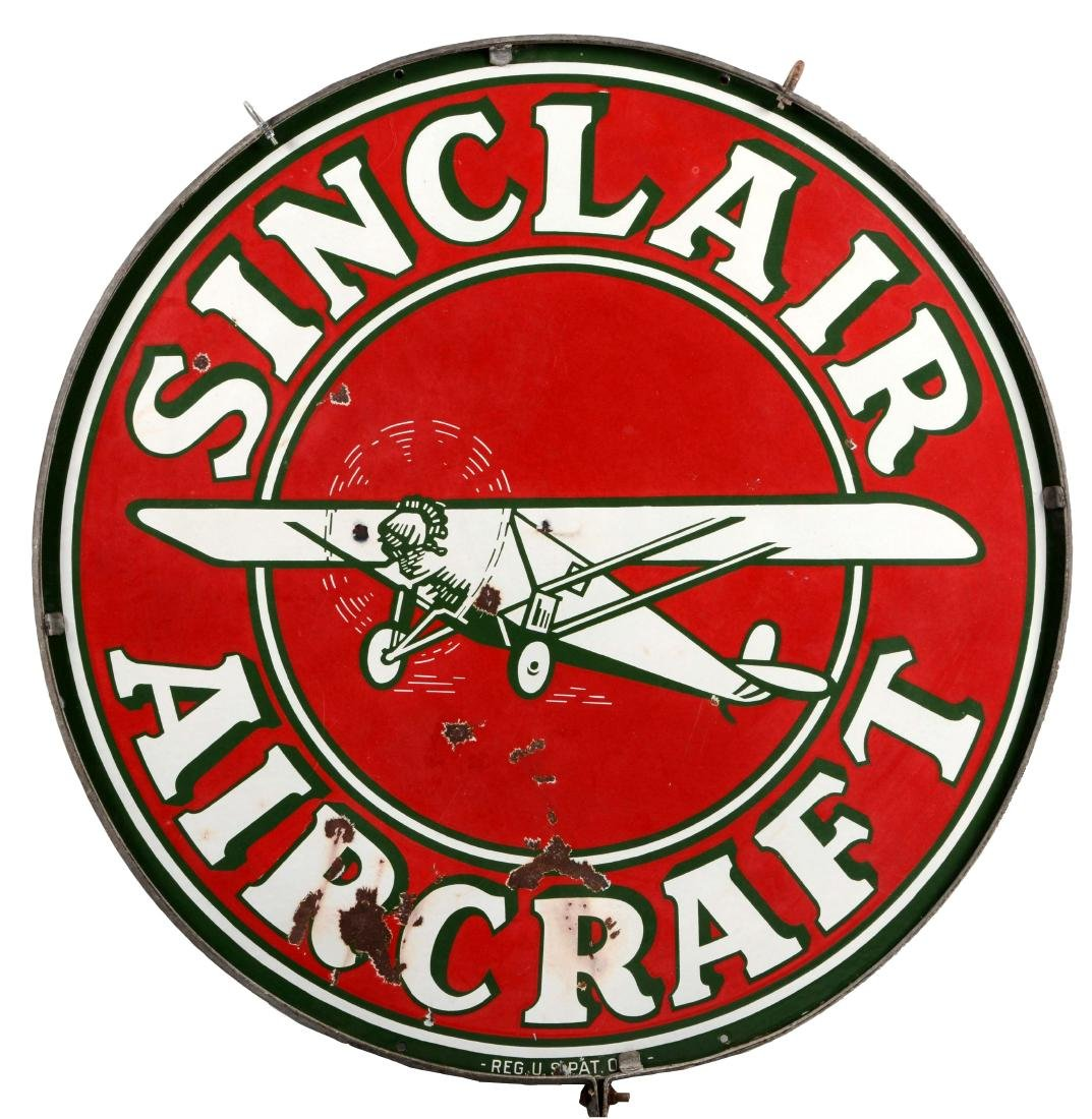 Sinclair Aircraft Porcelain Sign with Airplane