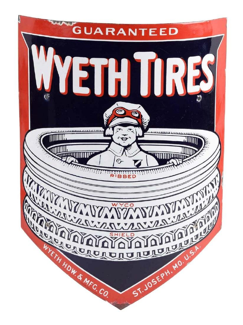 Wyeth Tires Curved Porcelain Sign W/ Boy In The Tires