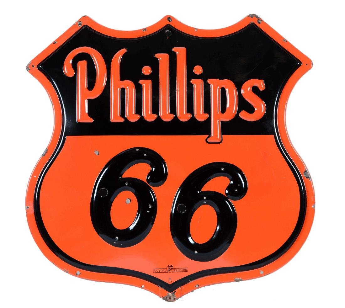 Phillip 66 Gasoline Embossed Porcelain Neon Skin Sign.