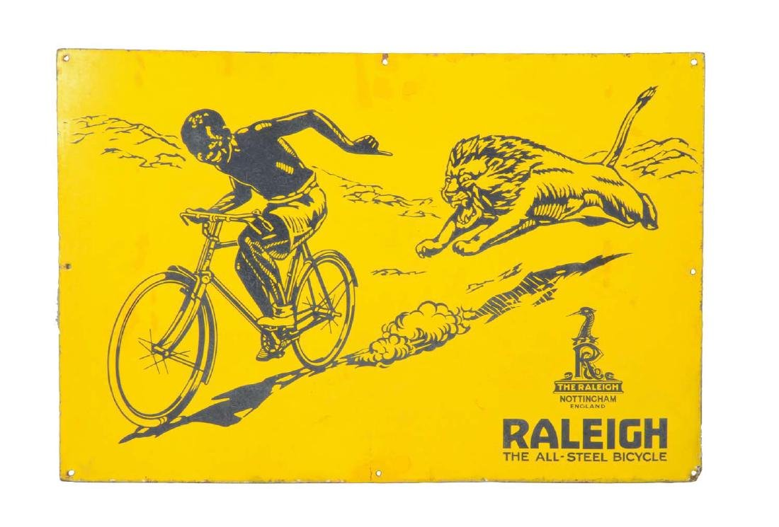 """Raleigh """"The All-Steel Bicycle"""" Porcelain Sign With"""