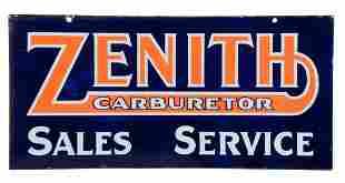 Zenith Carburetor Sales Service Porcelain Sign