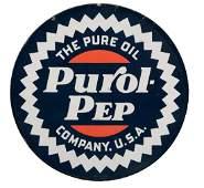 Pure Oil Purol Pep Porcelain Curb Sign.