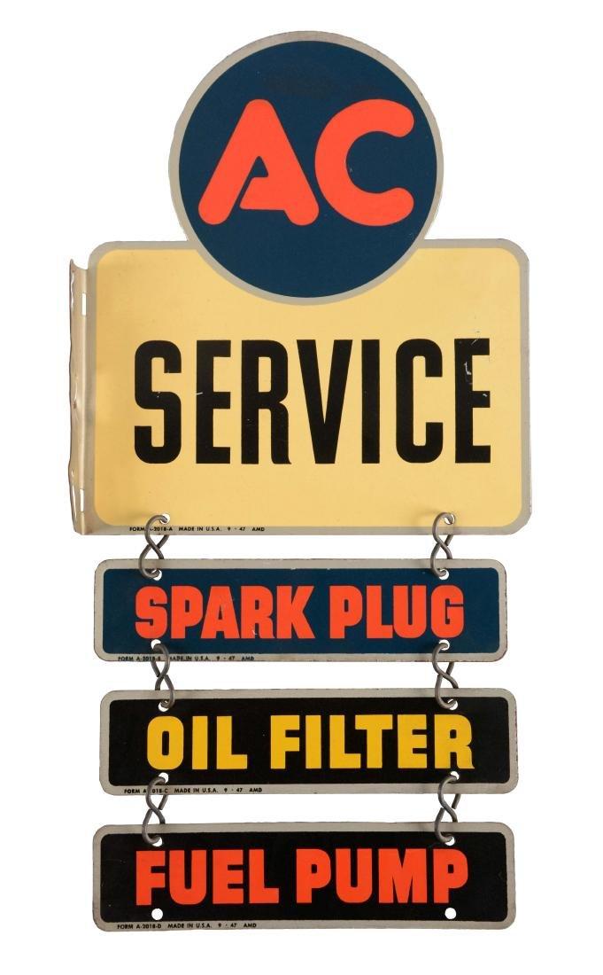 AC Spark Plug, Oil Filter & Fuel Pump Tin Service Sign.