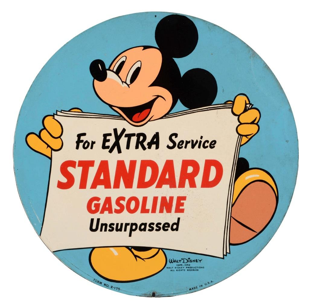 Standard Gasoline Tin Sign with Mickey Mouse Graphic.