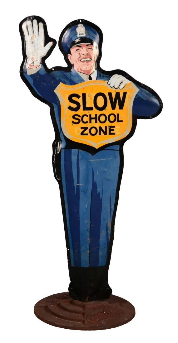 Coca-Cola Slow For The School Zone Embossed Tin Curb