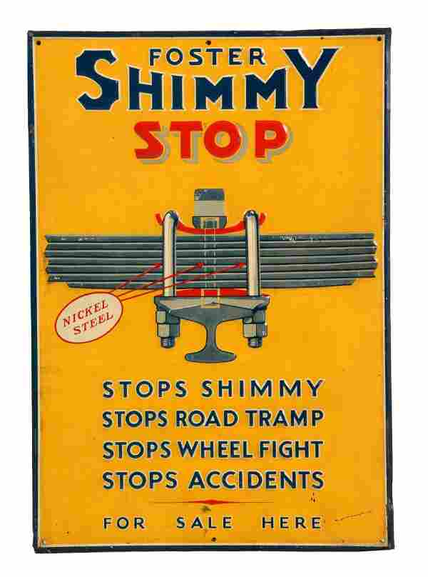 Foster Shimmy Stop Embossed Tin Sign.