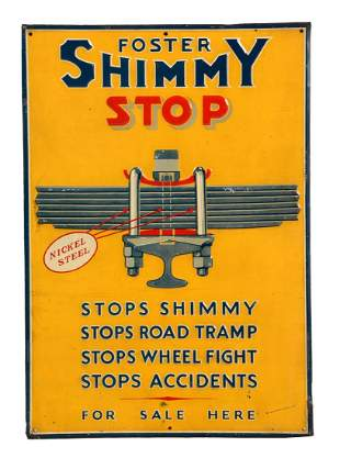 Foster Shimmy Stop Embossed Tin Sign