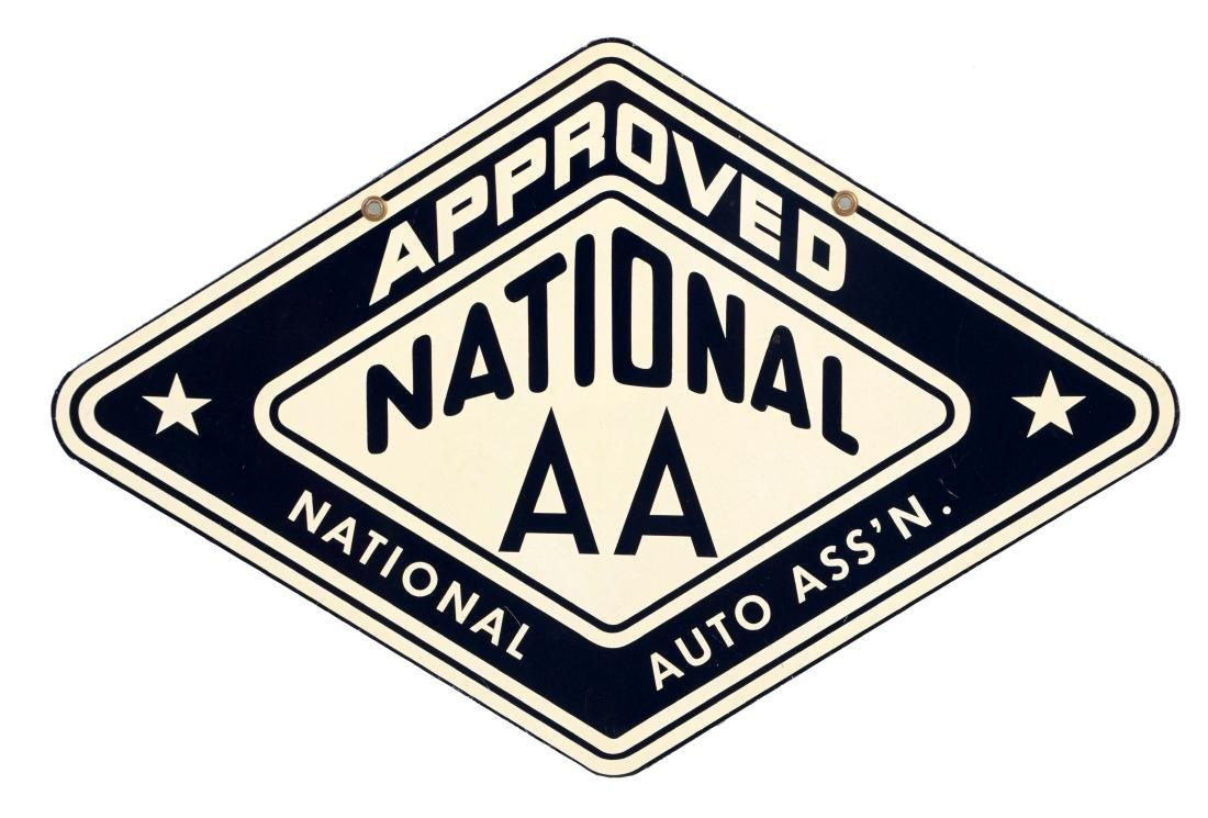 National Auto Association Approved Station Tin Sign.