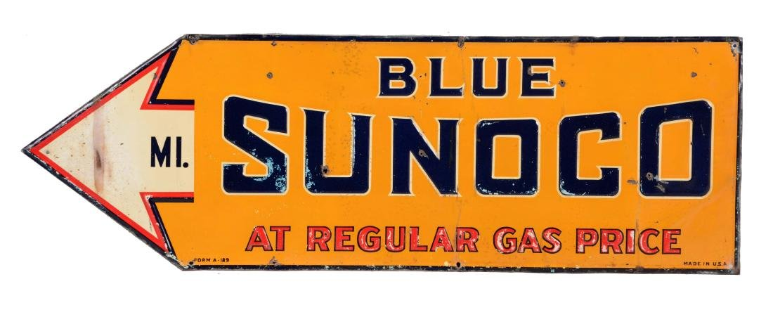 Blue Sunoco Embossed Tin Sign with Arrow Graphic.