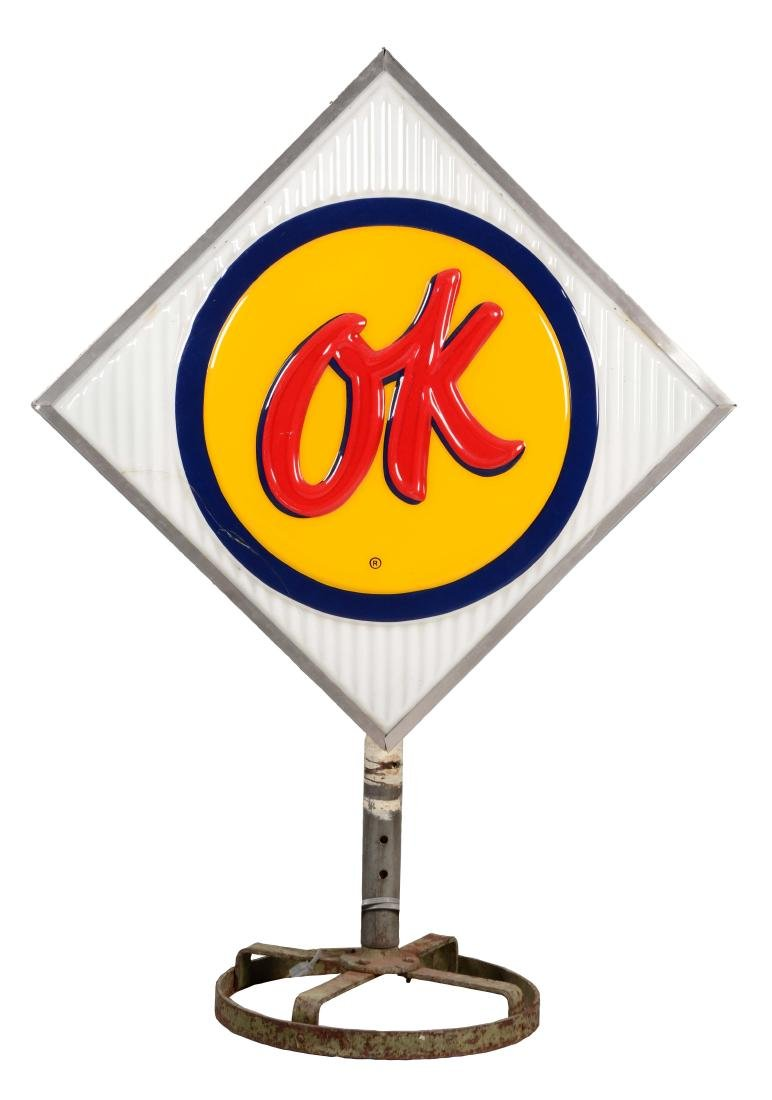 OK Used Cars Plastic Light Up Sign On Iron Base.