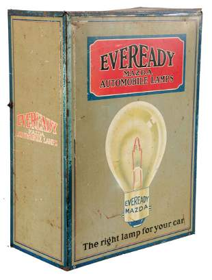 Eveready Mazda Lamps Store Display Parts Cabinet