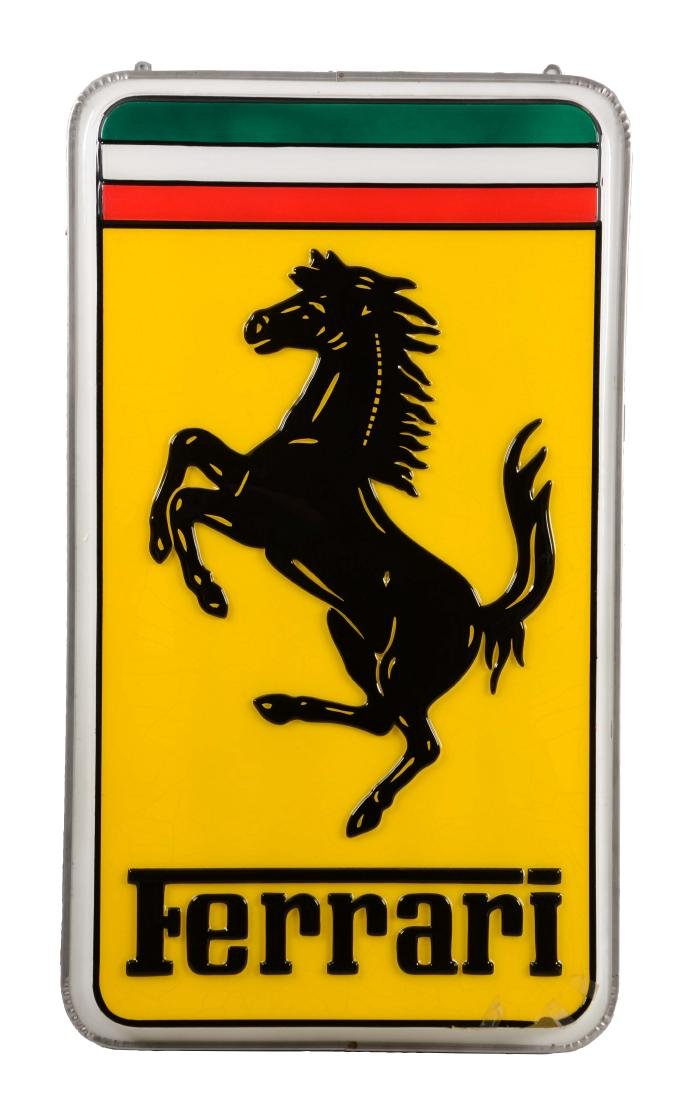 Ferrari Embossed Plastic Light Up Sign with Metal Can.