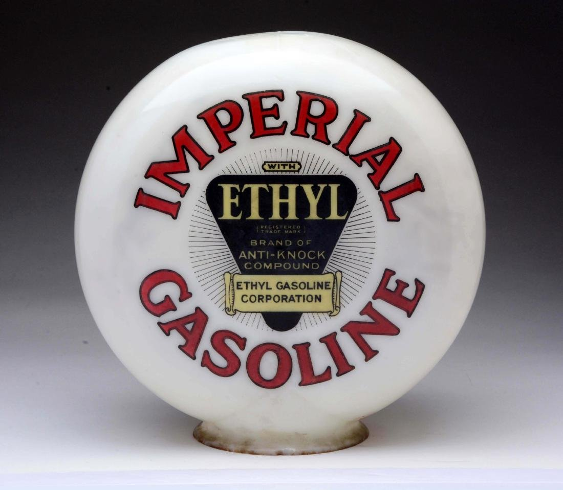 Imperial Gasoline with Ethyl Logo OPB Milk Glass Globe.