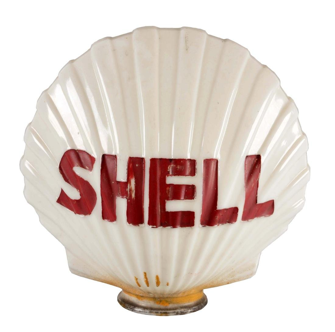 Shell Gasoline Clamshell Milk Glass Globe.